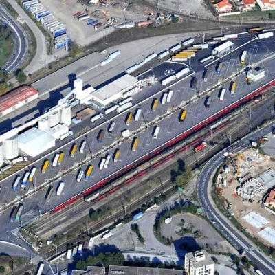 Aerial view of the multimodal medium terminal Lohr Railway System of Le Boulou ( Perpignan, France) with trailers waiting to be load.