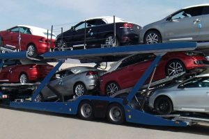 Car-carrier from the Multilohr Range loaded with 10 sedans.