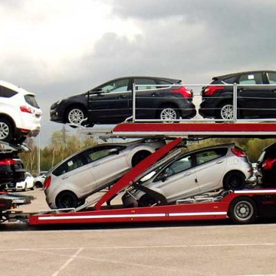 Lohr car-carrier, from the Eurolohr 200 range, loaded with 10 mixed cars.