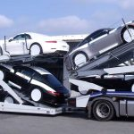 3 axles Lohr car-carrier from the range Eurolohr 300, loaded with 10 sports cars.