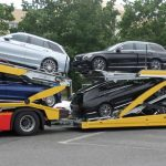 3 axles Lohr car-carrier from the range Eurolohr 300, loaded with 8 family cars.