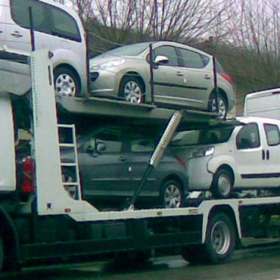 4 mixed cars and 2 vans loaded on a Tale, Lohr car-carrier.