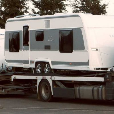 2 caravan loaded on a Tale, Lohr car-carrier.