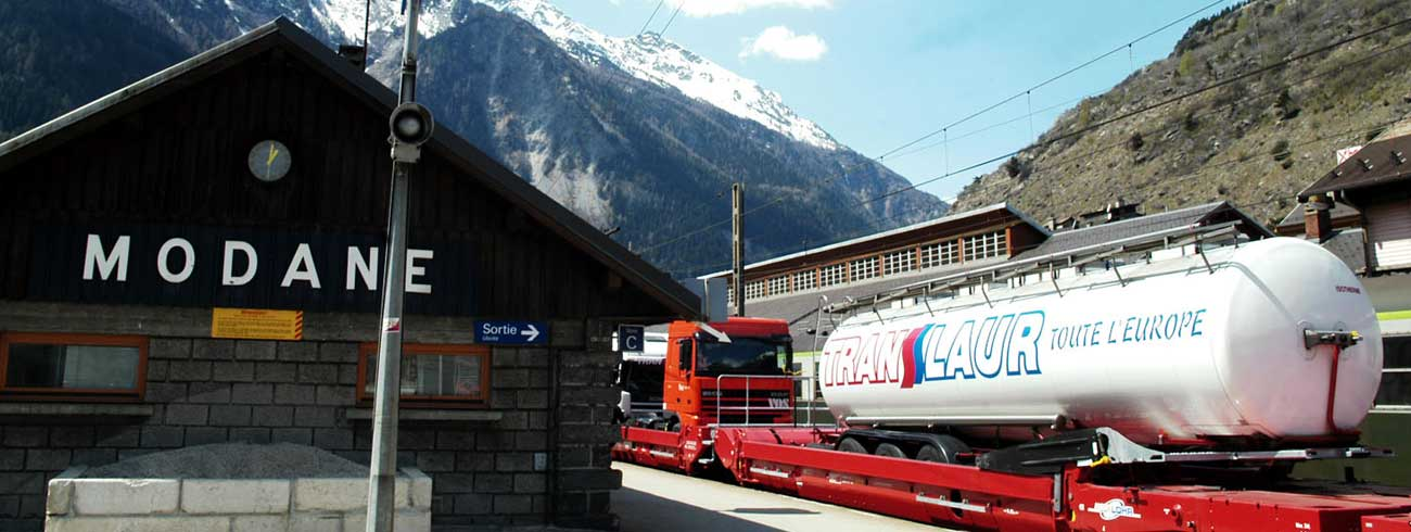 A train with Lohr UIC wagons stopped at the Modane (France) Station.