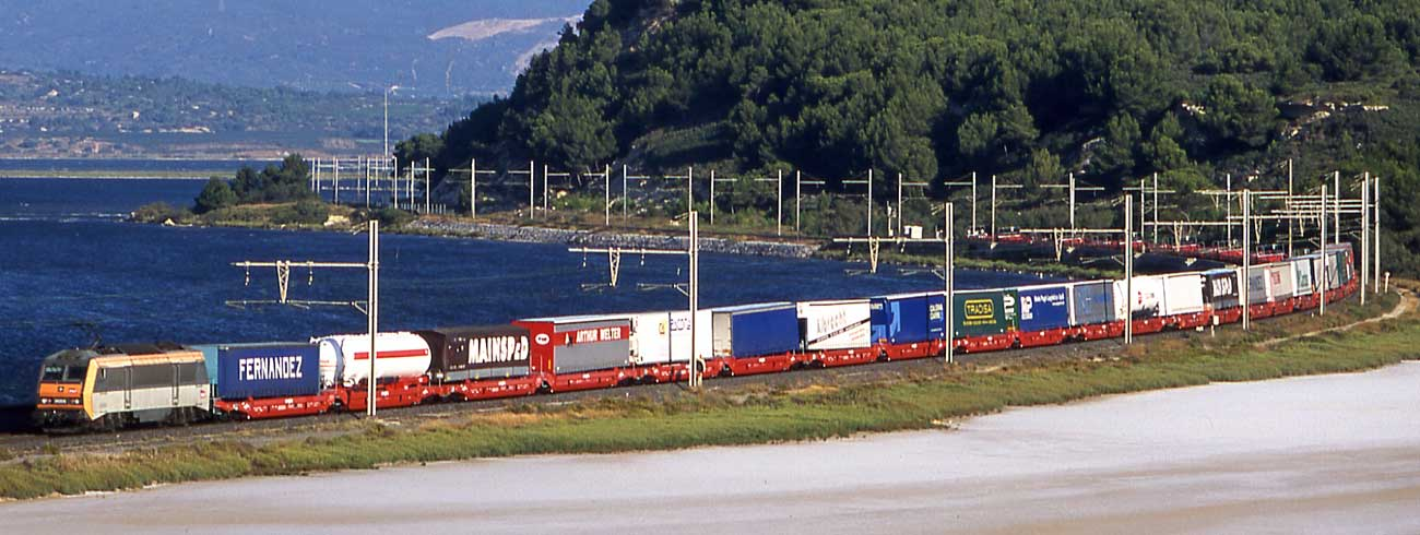 A train composed by Lohr UIC Wagons moving next to the sea.