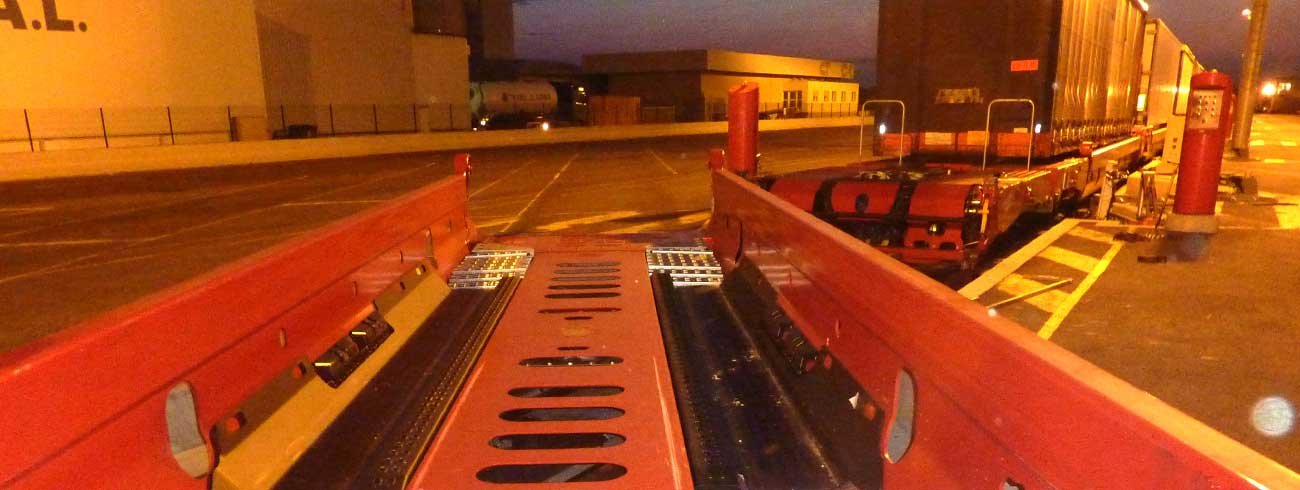 A Lohr UIC wagon in loading position, view like if we are the loaded trailer.