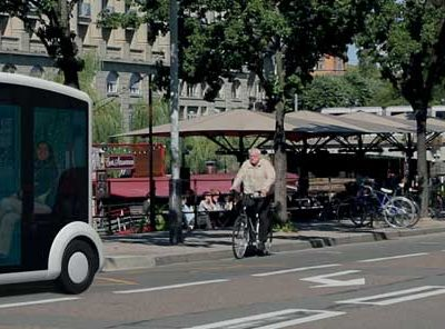 A Cristal by Lohr, electric shuttle in a street of Strasbourg, France.
