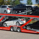 Eurolohr 2.53, lohr car carrier, loaded with 9 mixed cars.