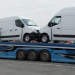 Eurolohr 3.53 WXS, car-carrier Lohr with 3 axles, loaded with 3 vans.