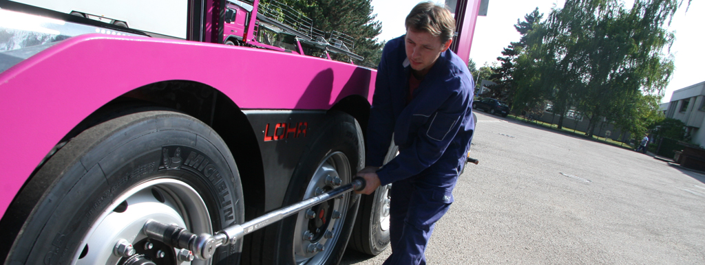 Lohr technician carrying out a maintenance operation on a Lohr car-carrier.