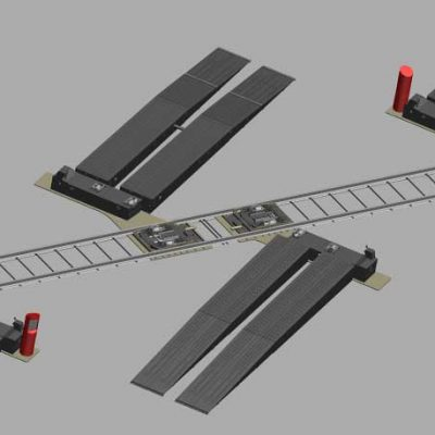 Loading ramps around a railway. 3D view.