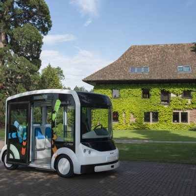The first Cristal electric shuttle in front of the headquarter of Lohr Group in Hangenbieten, Alsace, France.