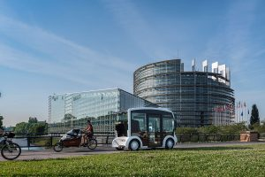 The electric shuttle Cristal by Lohr, in front of the European Parliament in Strasbourg, France.