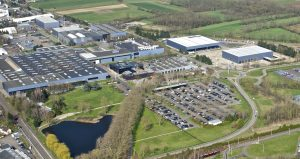 aerial view of Lohr industrial site at Duppigheim in Alsace, France.
