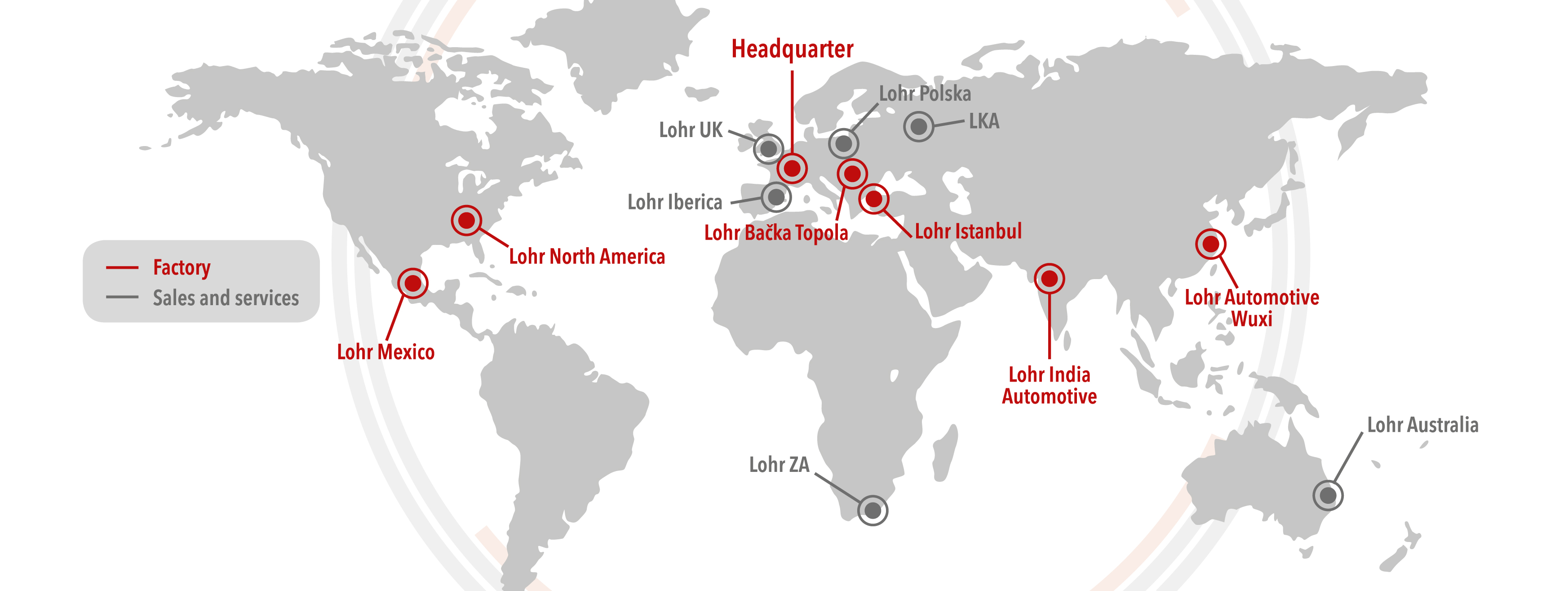 Lohr factories and points of sales and services around the world, map.