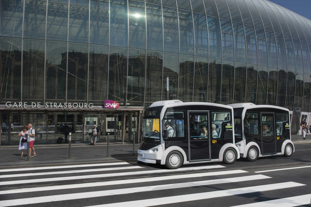 2 electric shuttles Cristal by Lohr, in front of Strasbourg Station.