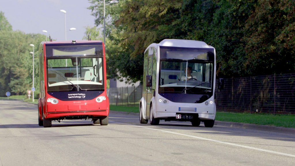 The range of electric vehicles developed by the industrial Lohr: Cristal, modular shuttle, and i-Cristal, autonomous shuttle.