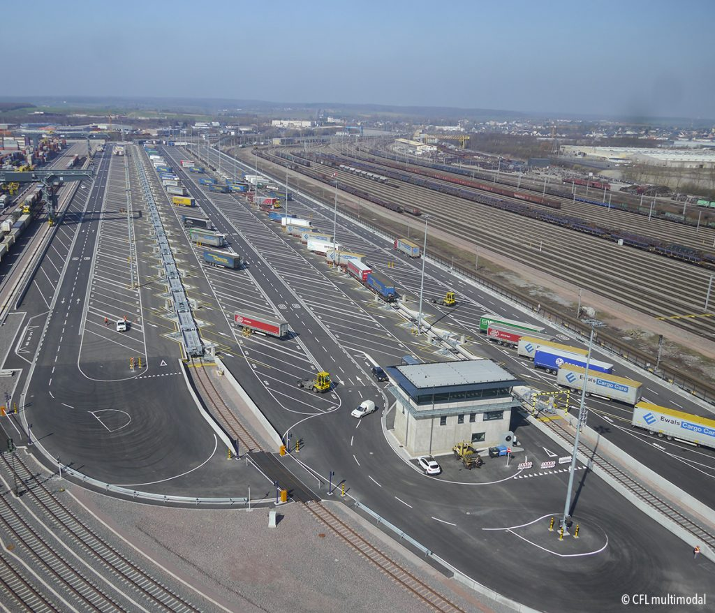 aerial view of the multimodal terminal of Dudelange, Luxembourg.