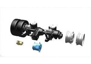 3D exploded electric axle Lohr: Axeal.