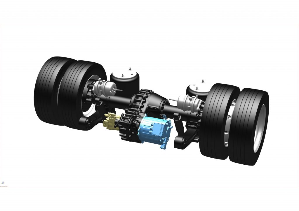 Electric car-carriers axle developed by Lohr. 3D view.