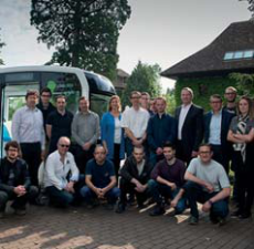 All Lohr Electromecanique team in front of the electric shuttle Cristal by Lohr, in Lohr Headquarter in Hangenbieten, France.