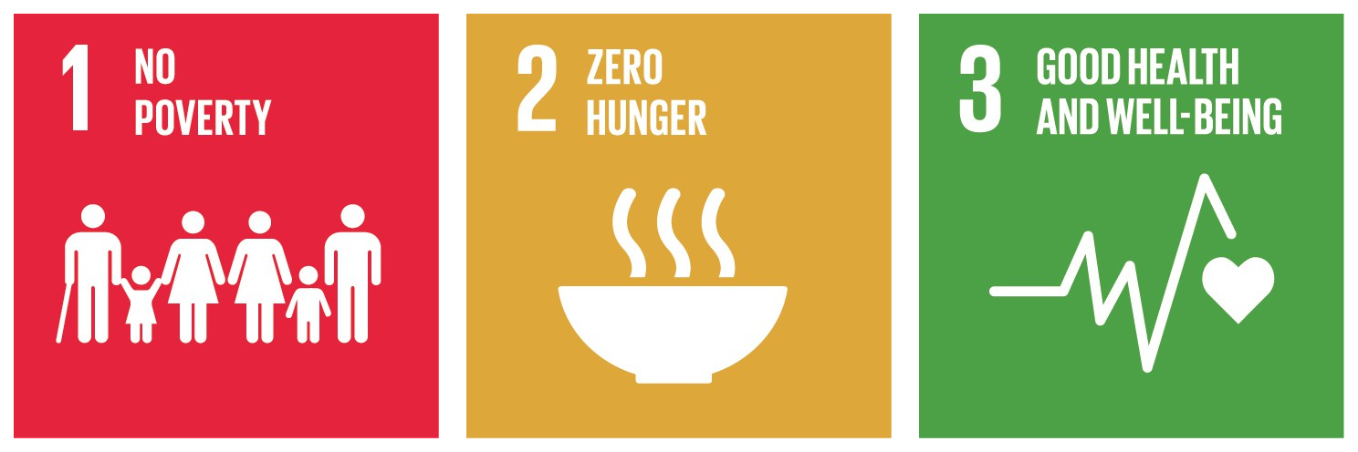 "Sustainable development goals, illustration of ""no poverty"", ""zero hunger"" and ""good health and well-being""."