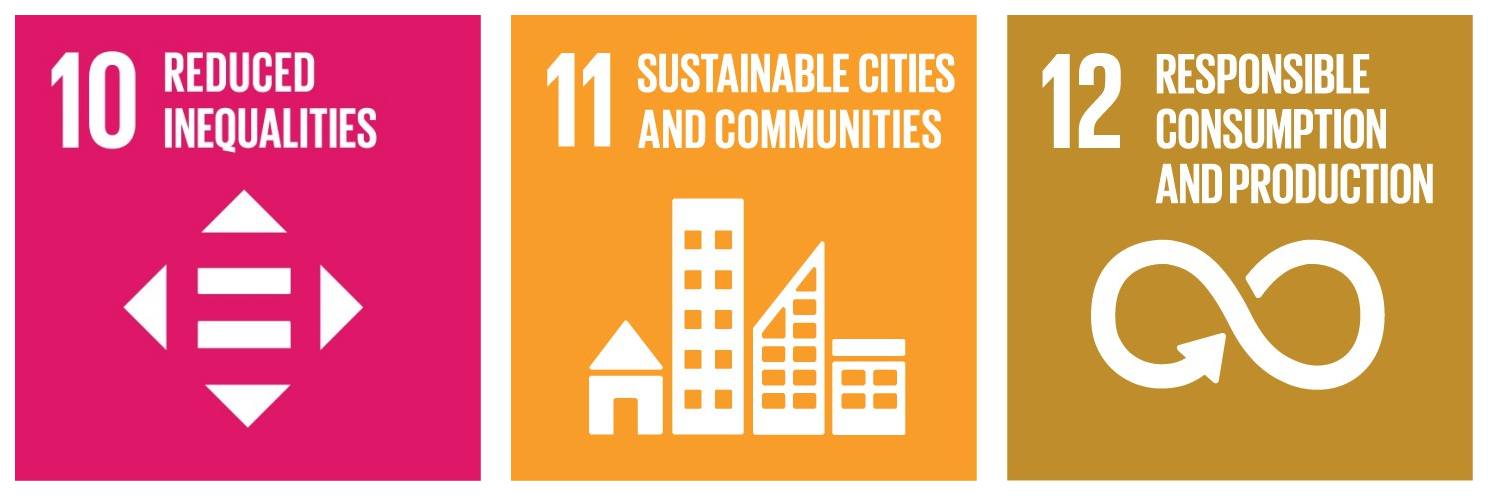 "Sustainable development goals, illustration of ""reduced inequalities"", ""sustainable cities and communities"" and ""responsible consumption and production""."