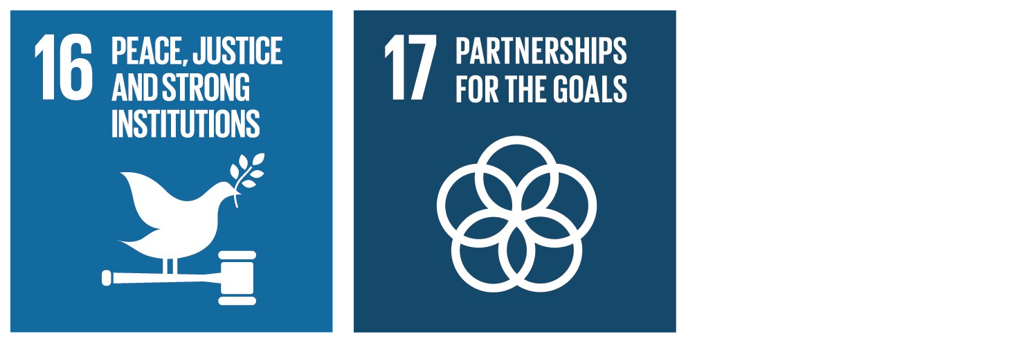 "Sustainable development goals, illustration of ""peace, justice and strong institutions"" and ""partnerships for the goals""."