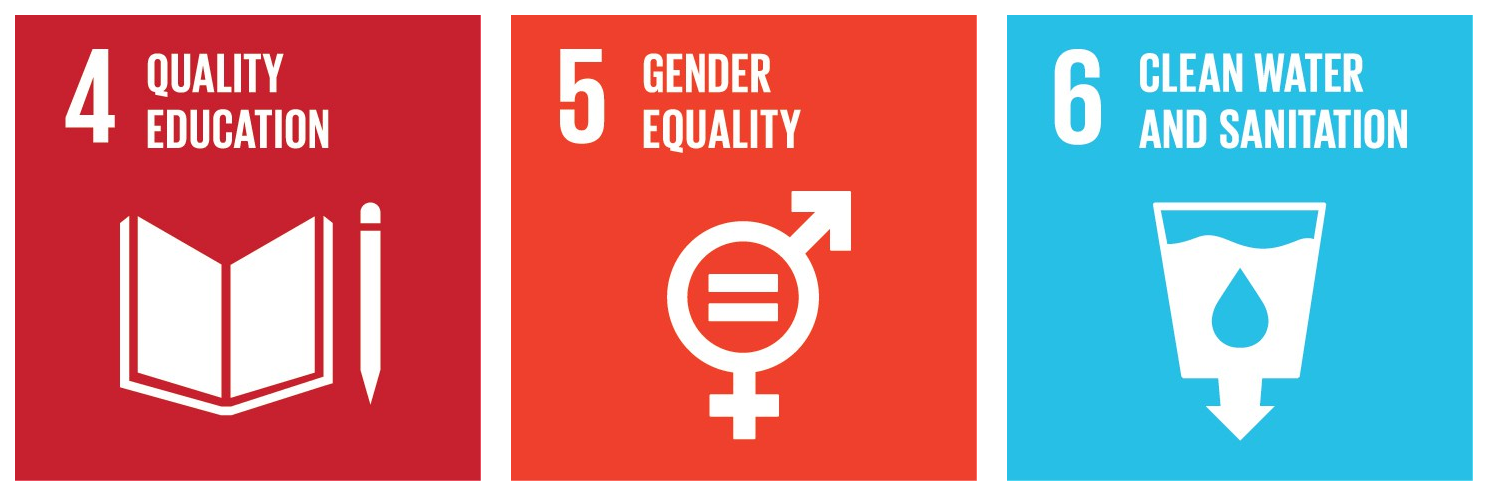 "Sustainable development goals, illustration of ""quality education"", ""gender equality"" and ""clean water and sanitation""."