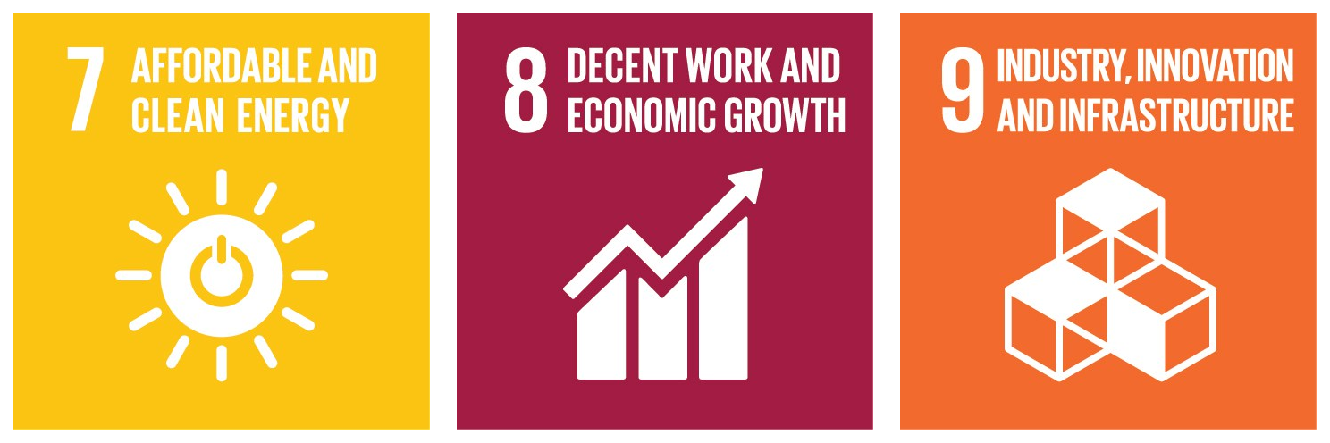"Sustainable development goals, illustration of ""affordable and clean energy"", ""decent work and economic growth"" and ""industry, innovation and infrastructure""."